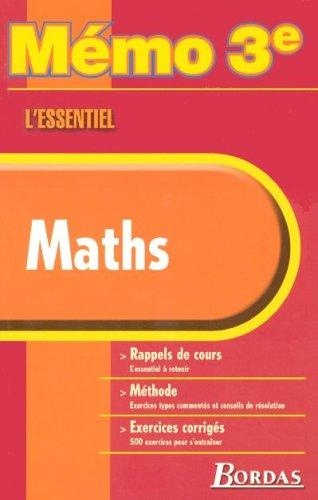 MEMO ESSENTIEL MATHS 3E NP2006 (Ancienne Edition)