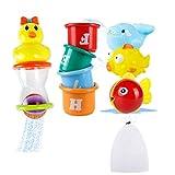 Badespielzeug Baby Set, Safe&Care Stapeln Tassen 8 Stücke Badewannenspielzeug, mit Netz Speicherungstasche Babyspielzeug Kleinkindspielzeug für Jungen und Mädchen