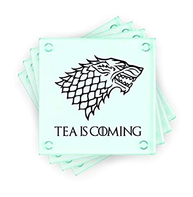 Lapal Dimension Tea is Coming Game of Thrones House Stark Inspired Set of 4 Glass Coasters