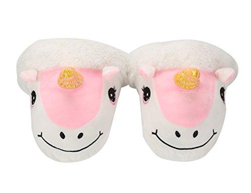 Lath.pin Unicorn Unicorn Pantofole Peluche Pantofole Animali Invernali Costume Casa Del Fumetto Scarpe Formato Adulto: 36-41 Bianco Rosa
