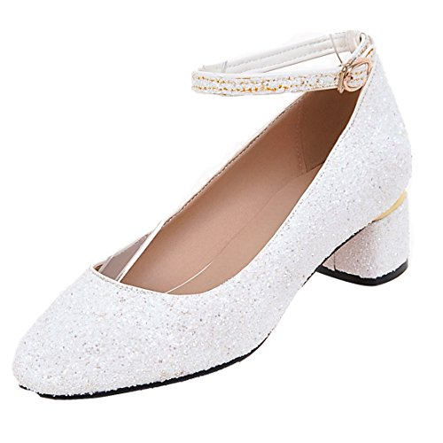AIYOUMEI Damen Glitzer Knöchelriemchen Chunky heel Pumps mit 5cm Absatz Kleinem Absatz Schuhe