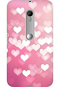 AMEZ designer printed 3d premium high quality back case cover for Moto G3 (pink hearts)