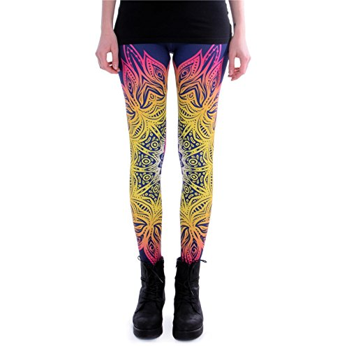 cosey - Bedruckte Bunte Leggins (Einheitsgröße) - Leggings Design Mandala Lichter