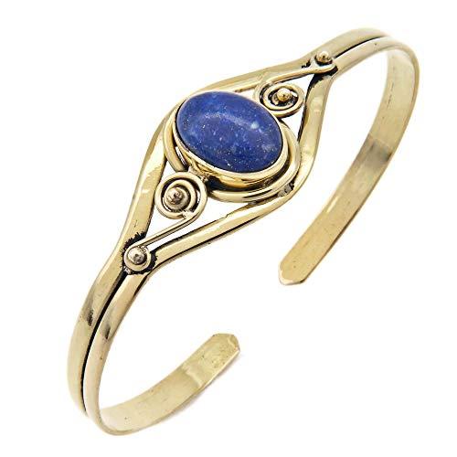 mantraroma Armreif Armband Messing golden Lapis Lazuli blau (932-05-007-06)