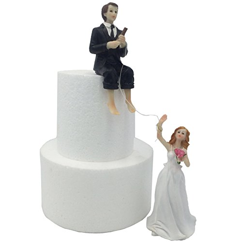 e-muse Fishing the Ring Figure Couple of Grooms, Topper Wedding Cake, Height 5.5 Inches