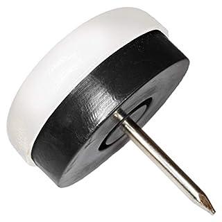 32 x Kunststoffgleiter mit Puffer und Nagel | Ø 25 mm | Weiß | rund | Möbelgleiter mit Dämpfer und Stift in Premium-Qualität von Adsamm®