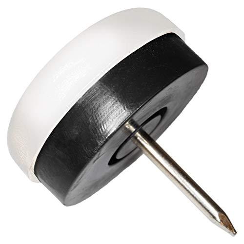 32 x Patins en plastique à clouer et caoutchouc noir | Ø 25 mm | blanc | ronde | patins glisseurs qualité premium de Adsamm®