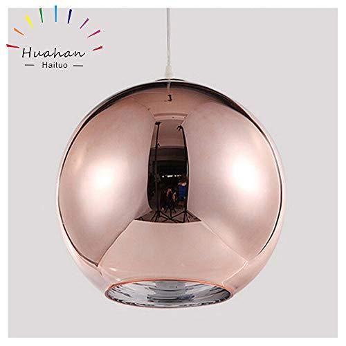Huahan Haituo Hängeleuchte mit modernem Lampenschirm, Kupfer, verspiegelt, Kugel aus Chrom, mit Kabel von 120 cm, Durchmesser 15 cm, 20 cm oder 25 cm, E27, 40-100 watts (Bronze, 25cm)