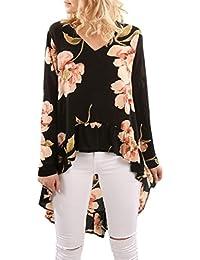 LILICAT Clothing Women V Neck 3D Tree Print Asymmetric Hem T Shirt Ladies Long Sleeve Tops T-Shirts Casual Loose Dress Plus Size