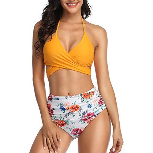 BOLANQ Damen Reizvoller Zweiteilige Bikini Set Push Up Gepolstert Cups Mit Bügel Bandeau Badeanzug Bademode Monokini -