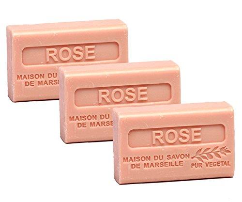 Maison du Savon de Marseille - 3er-Set Provence-Seifen mit Sheabutter - Rose - 3 x 125 g -
