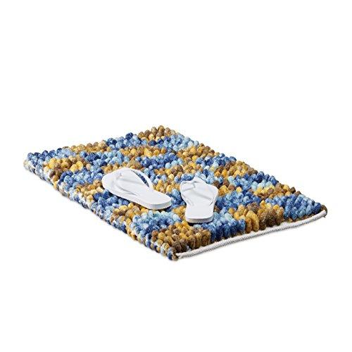 Relaxdays Badematte Blau POPPY mit Karos, extra weicher Shaggy Teppich, waschbar, Badvorleger 50 x 80 cm, blau-gelb (Bad-teppich Blau Gelb)