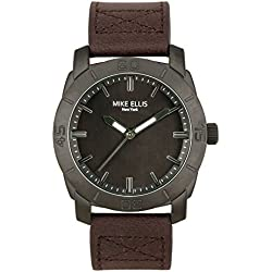 Mike Ellis New York Men's Quartz Watch with Black Dial Analogue Display and Leather bronze - SM4340A3