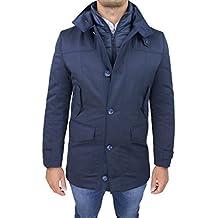 Giaccone giubbotto uomo sartoriale blu slim fit invernale giacca soprabito  elegante con gilet interno d2e92c16eca