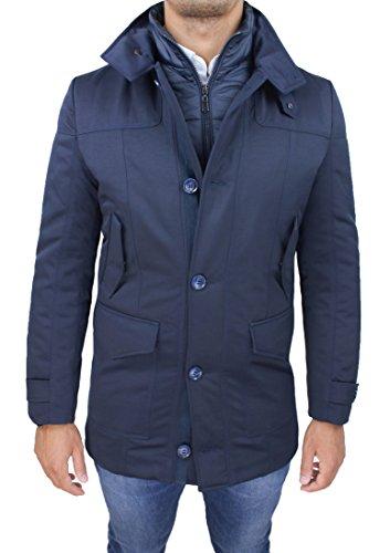 Giaccone giubbotto uomo sartoriale blu slim fit invernale giacca soprabito elegante con gilet interno (xxl)