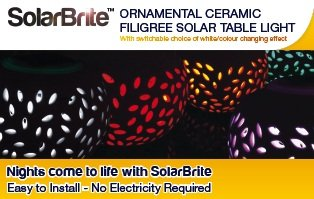 Colour Changing LED Ceramic Solar Filigree Table Light - cheap UK light store.
