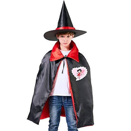 NUJSHF Unisex Kinder Umhang mit Kapuze, Schwarz Betty Boop, Halloween, Party, Dekoration, Rolle, Cosplay, Kostüme Outwear