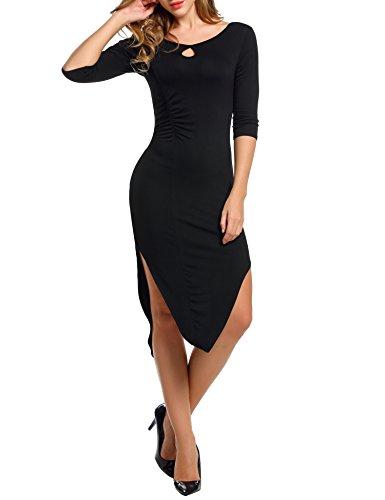 ZEARO Damen Kleid Dress Etuikleid 3/4 Ärmel O-Ausschnitt Asymmetrischer Saum Schwarz