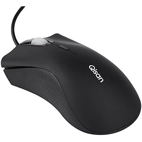 Basic Gaming Mouse Ratón con cable (3botones, 1200DPI by qisan vienen con Gratis Android Micro USB 2.0Cable de datos OTG