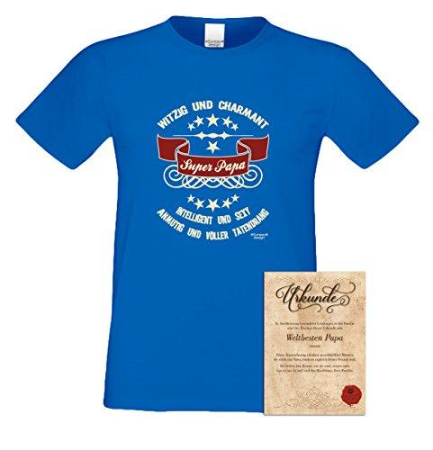 Herren-Männer-Sprüche-Motiv-Vater-Fun-T-Shirt :-: als Geburtstags-Weihnachts-Vatertags-Geschenk :-: Super - Papa :-: Übergrößen 3XL 4XL 5XL :-: mit Urkunde :-: Farbe: royal-blau Royal-Blau