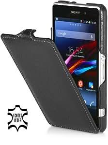 StilGut UltraSlim Case, Tasche aus Leder für Sony Xperia Z1 Compact, schwarz