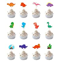 Party Hive 24pc Cute Dinosaur Themed Cupcake Toppers for Kids Birthday Party Event Decor