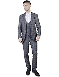 Marc Darcy Suit Mens Blake Tonal Check Tweed Three Piece Suit in 1//Tan