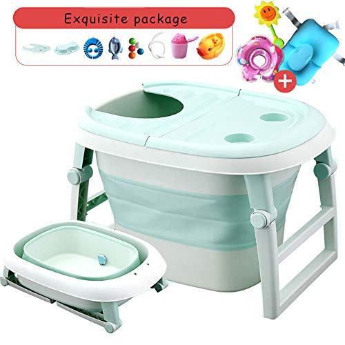 JINRONG_xzp Bañera para bebé Plegable, portátil, Antideslizante, para bebés, con Tapa, bañera...