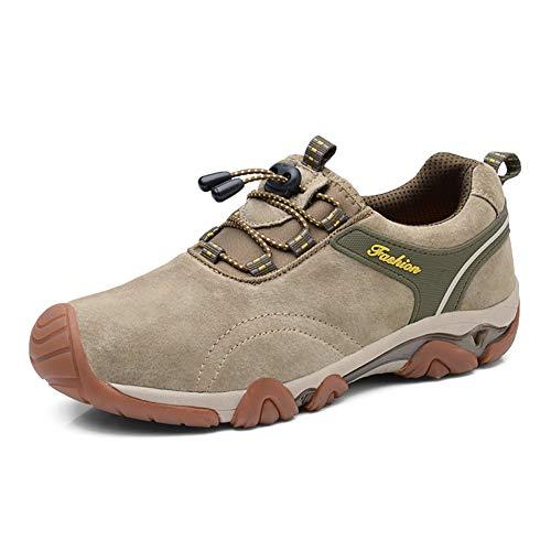 YUL Herren Trekkingschuhe Herren Sneaker Lace-up Leichte Wanderschuhe Low Rise Wanderschuhe Rutschfeste Klettersteig Laufschuhe,khaki,44 -