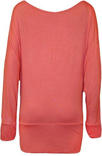 WearAll - Grand taille uni outre de l'épaule haut top avec manches chauves-souris longues - Hauts - Femmes - Tailles 44-62 Corail