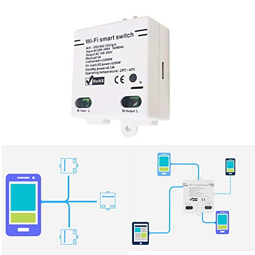 Smart Wireless Switch, Interruttore di Controllo vocale WiFi Wireless Compatibile con Smart Things Alexa/hub/Wink Hub/Zigbee ha Hub/Plus/Echo Show 2/Echo DOT