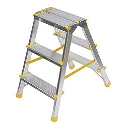 Aluminium Trittleiter, beidseitig begehbar, 2x3 Stufen, 150kg Traglast