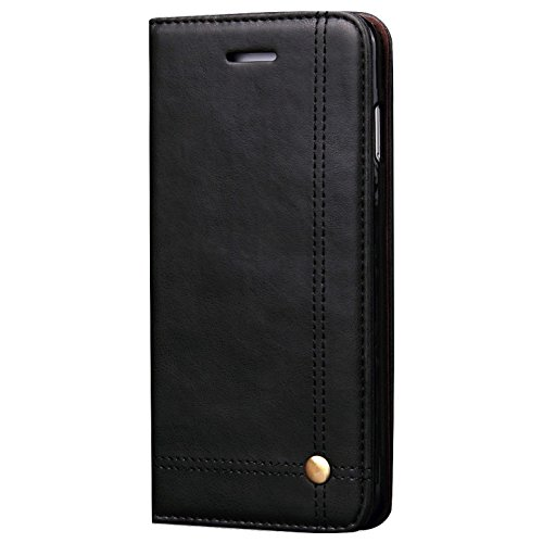 Verus Premium Hidden Magnet Close Leather Flip Wallet Case With Card Slot (inner Tpu) For Apple Iphone 7 - Black