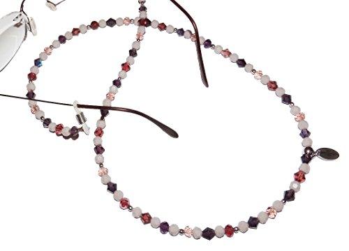 ARTemlos® Handmade Damen-Brillenkette aus Edelstahl und Perlen in violett