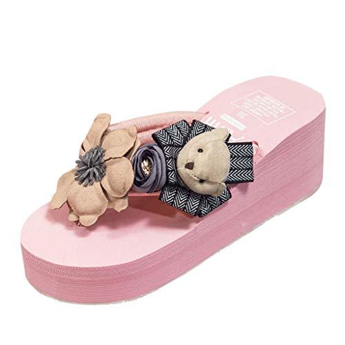 Damen Flip Flops Damen Hausschuhe ❤ Teenager Mädchen Cartoon Blumen Keile Sandalen Strand Schuhe Bär -