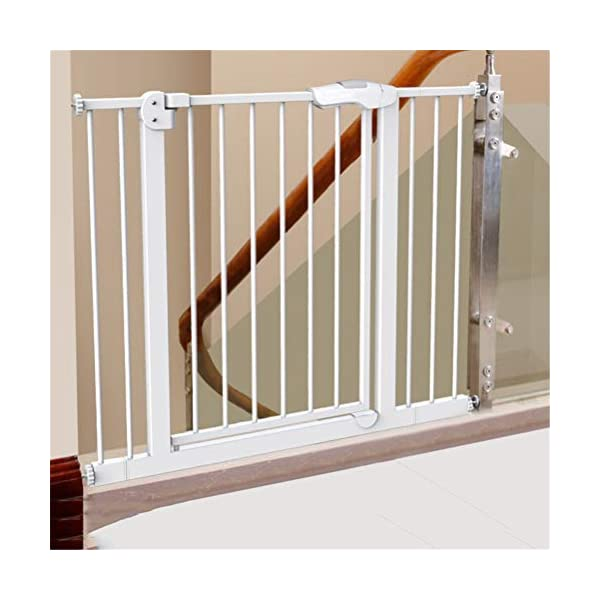 GFYWZ Pet Safety Gate for Baby Dog Cat or Other Pets for extra-wide openings, with no threshold and one-hand operation,75~86cm GFYWZ ◆ Measure your opening before purchasing: This gate fits openings 65 to 74cm/75 to 84cm. It will not fit any opening smaller than 65cm. If your opening is larger than 84cm you will require an additional purchase of an extension. ◆ One handed operation - the one handed operation is fantastic for times when you're holding your child and the double locking feature ensures extra security to help keep your child safer. ◆ To be installed on the wall or door, Functional, lightweight and portable,Convenient walk-through design 2
