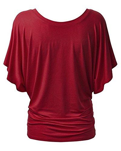 Chemise Femme T-shirts Baggy Manches Courtes Hauts Blouse Tops Vin Rouge