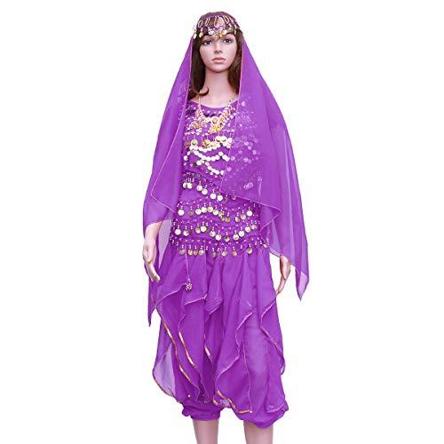 FENICAL 5 Teile/Satz Indischen Tanz Bauchtanz Kurzarm Rotary Hosen Leistung Set (Dark Purple, Tops + Pants + Taille Kette + Headwear Schleier + Halskette)
