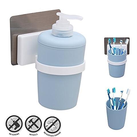 Kurelle Liquid Soap Holder, Self Adhesive Wall Mount Handwash Dispenser pump, Refillable Shampoo Lotion Bottle and Toothbrush Holder Plastic Tumbler Cup