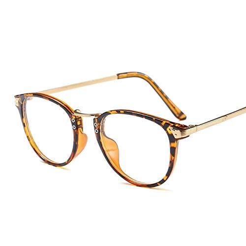 Easy Go Shopping Retro Brille klare Linse, gefälschte Nerd Horn umrandeten Brillengestell Frauen Sonnenbrillen und Flacher Spiegel (Farbe : Leopard)