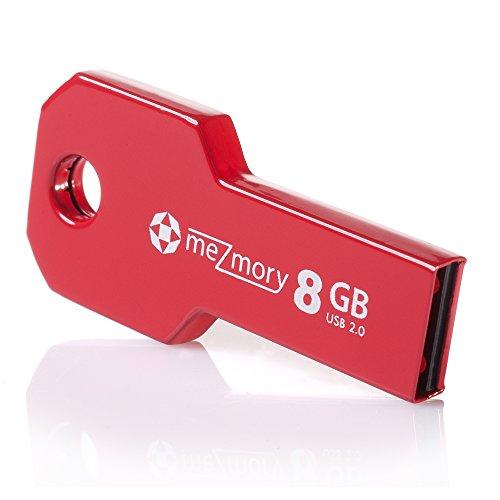meZmory Schlüssel USB Stick 8GB Rot - Hochwertig & Einzigartiges Mini Design - USB 2.0 Speicherstick Wasserdicht & Extrem Robust aus Metall - Flash-Drive Ideal für Schlüssel-Anhänger