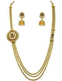 JFL - Traditional & Ethnic One Gram Gold Plated Cz American Diamond Stone Designer Long Necklace Set For Girls...