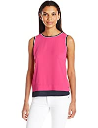 Nautica Women's Sleeveless Flowy Top with Back Placket Detail
