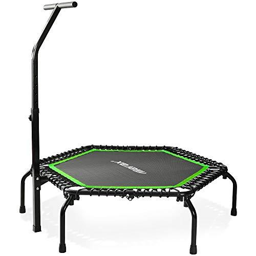 Merax Mini Trampoline Fitness Indoor, TÜV-Geprüft, 5 Fach Höhenverstellbarem Haltegriff & Randabdeckung, Klappbare Gymnastiktrampolin für jumpsport bis 100kg (Grün)