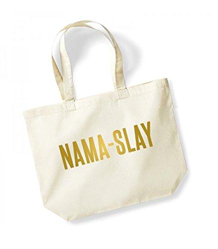 Nama-Slay - Large Canvas Fun Slogan Tote Bag Natural/Gold