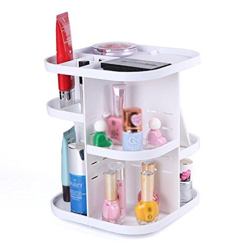 Étui cosmétique HWF Boîte de rangement cosmétique Boite de toilette à 360 degrés Boîte de finition Bijoux Rouge à lèvres Organisateur (Couleur : Blanc)