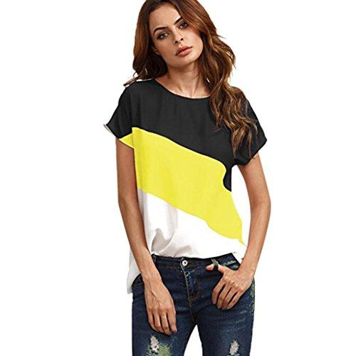 TWIFER Damen Farbblock Chiffon Kurzarm Bluse Shirts Tunika Sommer Tops (L, Gelb)
