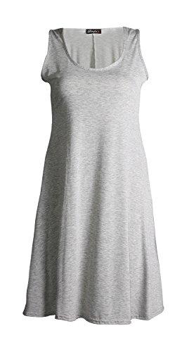Fast Fashion Damen Skater Kleid Einfachen Racer-Back Abgefackelt Grau