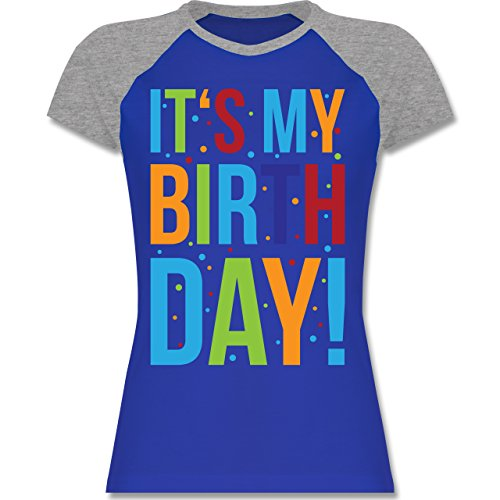 Shirtracer Geburtstag - It's My Birthday - Zweifarbiges Baseballshirt/Raglan T-Shirt für Damen Royalblau/Grau meliert