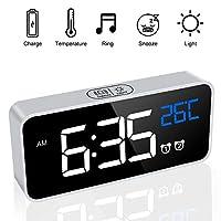 JBonest Rechargeable Digital LED Alarm Clock Non Ticking with Snooze Brightness Dimmer 13 Optional Alarm Sounds Adjustable Volume Temperature Display for Bedroom Bedside
